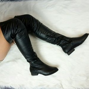 e0f2f8c93b Shiekh Shoes | Black Faux Leather Thigh High Low Heel Boot Sz 6 ...